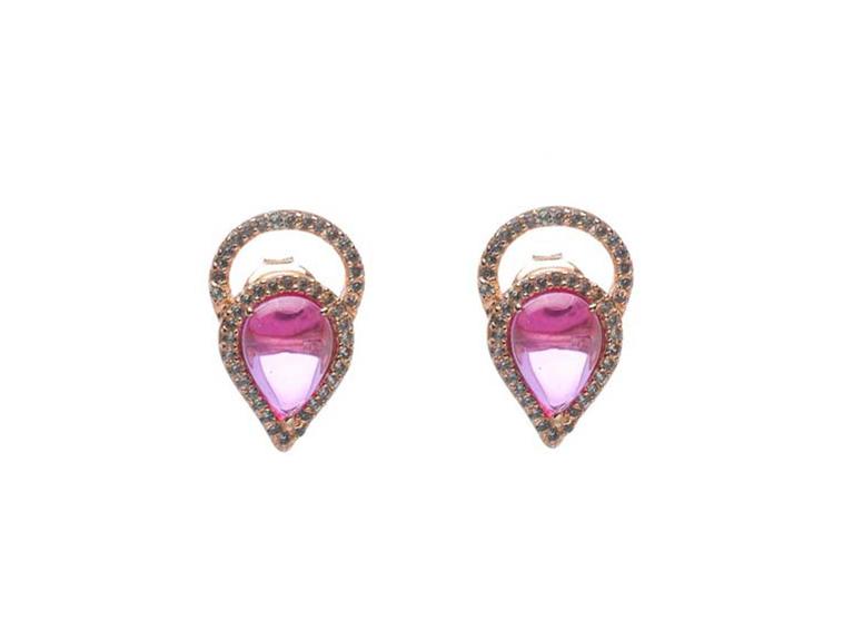 Arete cristal rosa